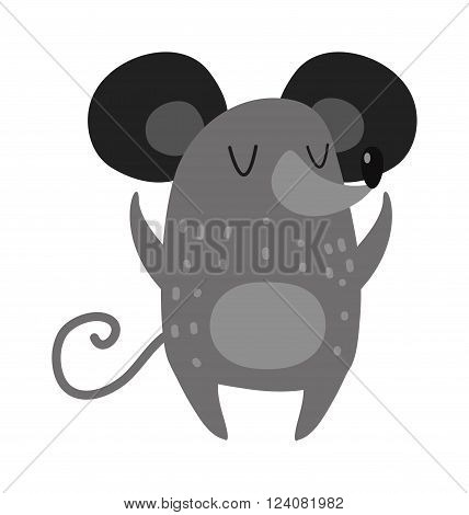 Hand drawn small mouse and adorable gray happy hand drawn mouse. Hand drawn domestic gray cartoon pet mouse. Small cute rat. Cartoon smiling gray hand drawn mouse arms outstretched cute rat vector.