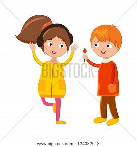 Girl with headphones, boy with flower  cartoon character boy and girl fun person. Boy and girl couple friends. Little boy flower and girl headphones cute children waving hand cartoon character vector.