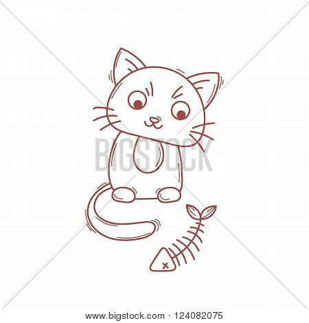 Cute cat character. Satisfied fed kitten. Wary fishbone.