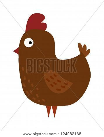 Cartoon chicken and cartoon chick. Cartoon chick little character and funny small young bird animal. Cute chicken cartoon brown farm bird vector illustration.