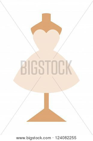 Wedding dress vector isolated on white background. White girl wedding dress vector illustration. Flat art of wedding dress on dummy