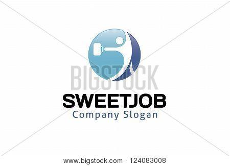 Sweet Job Creative And Symbolic Logo Design Illustration