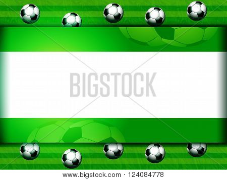 Soccer Football Panel Background on Green with 3D Balls