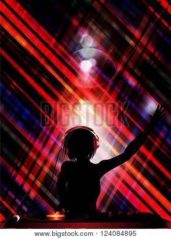 Female DJ Silhouette with Record Deck and Headphones Over Cross Striped Background