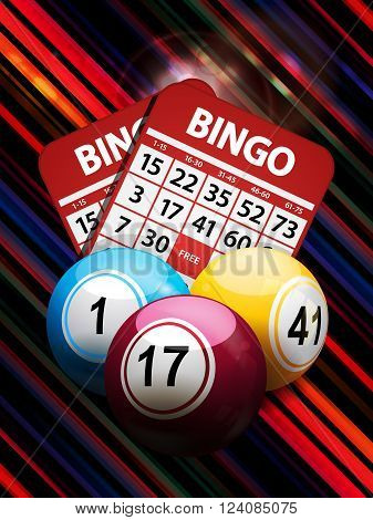 Bingo Balls and Cards Over Glowing Abstract Striped Background