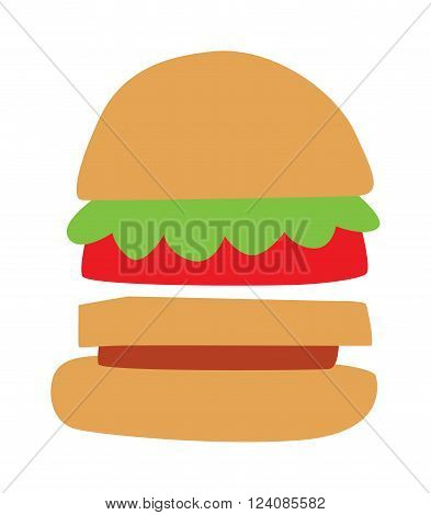 Hamburger fast food and hamburger tasty grilled american dinner. Hamburger classic cuisine gourmet fast food. Hamburger cheeseburger. Hamburger with meat, lettuce and cheese sandwich fast food vector.