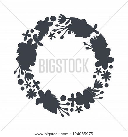 Spring black wreath frame and vintage spring wreath silhouette design. Vector circular floral wreaths with leaves central space for your text.