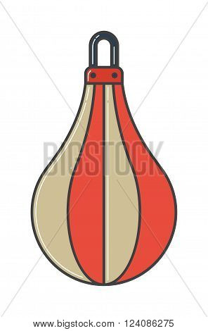 Red boxing bag vector illustration. Hanging boxing bag isolated on white background. Boxing bag sport equipment. Boxing bag leather protection. Boxing bag.