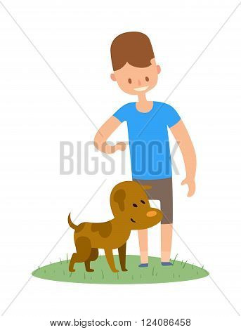 Boy and dog . Little boy with dog . Friend smiling with dog. Boy and brown dog Best friend . Best friend Boy and dog together. Young Boy and dog isolated on white background.