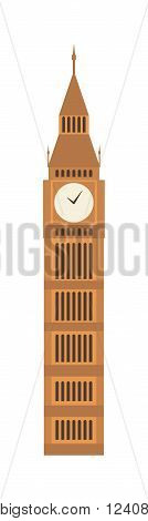 London big ben tower and big ben clock britain monument. Famous big ben building britain westminster parliament clock tower. Vector illustration big ben clock symbol of London and United Kingdom.