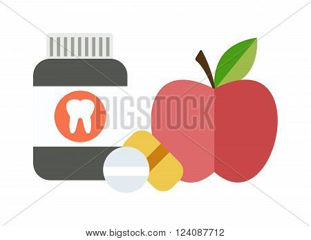 Medical doctor health diet offering chemical and natural health diet vitamins, of drugs and apple fruits. Health balanced diet concept choice between two sources vitamins pills or fruits vector.