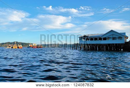 Boats on the water in Castro on the island Chiloé in Chile