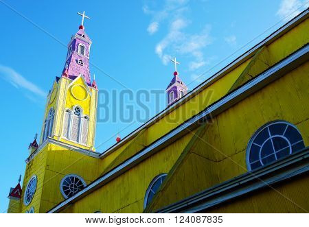 Close-up of the yellow and purple church in Castro on the island Chiloé