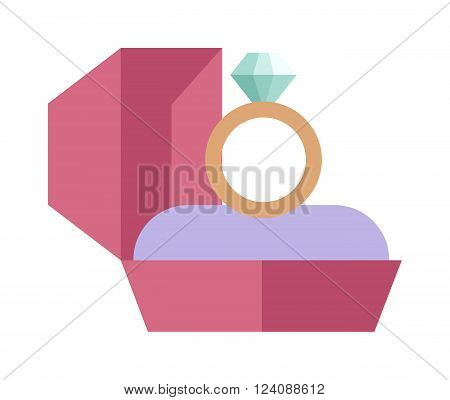 Wedding golden rings isolated on background. Wedding cute style cartoon rings. Vector wedding rings couple isolated icons