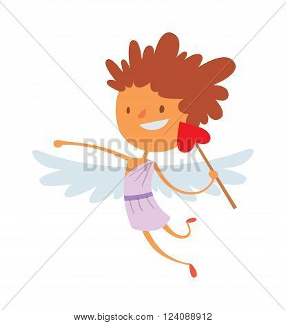 Cartoon cute cupid angel smile kid vector silhouette. Romance cupid angel, child little cupid angel. Cupid angel wedding celebration. Baby cupid angel wings box with wedding ring cartoon vector.