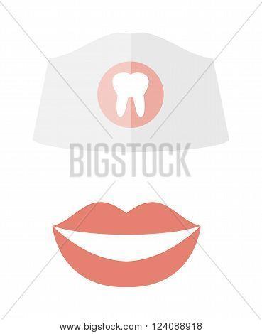 Woman smile teeth whitening dental care vector.