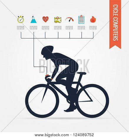 gps computers and  apps for bike and cycling . infographics