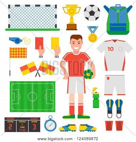 Football soccer icons Football soccer player trophy icons and football soccer competition web game icons. Football soccer team score win play. Flat design football soccer icons sport vector.