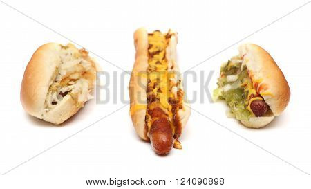 Three different kinds of hotdogs on a white background ** Note: Shallow depth of field
