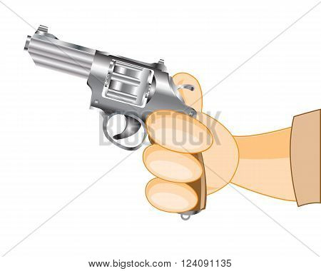 Weapon in hand of the person on white background is insulated
