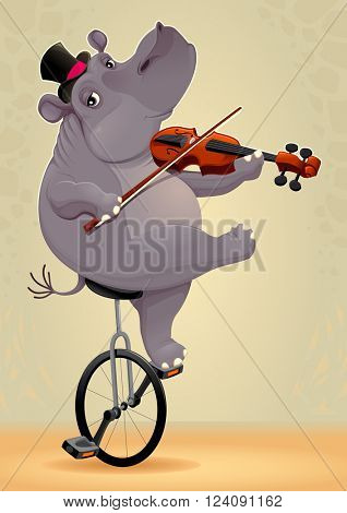 Funny hippo on an unicycle. Vector cartoon illustration