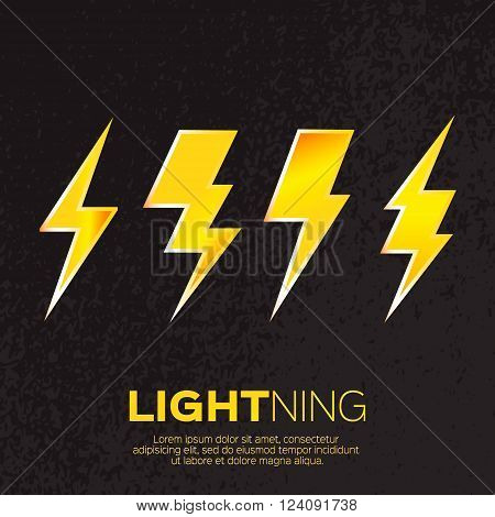 Yellow Lightning bolt on black background. Vector illustration