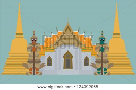 vector of Thai Temple with giant and pagoda