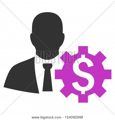 Banker Options vector icon. Style is flat symbol violet color white background.