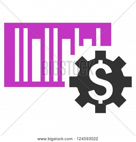 Barcode Price Setup vector icon. Style is flat symbol violet color white background.