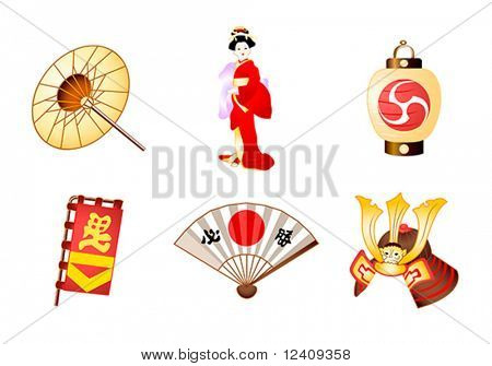 Japanese traditional culture symbols in vector