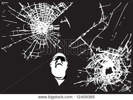 Dos vectores patrones resquebrajados de cristal con el hombre mirando (todo es editable)