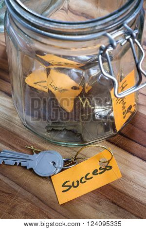 concept image using hand written tags and and old jar with the keys to life in it