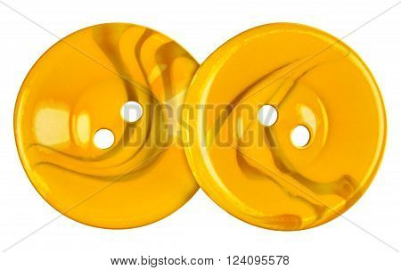 Yellow Plastic buttons isolated on white with Clipping Path