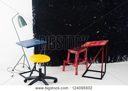party, blue, red, yellow, board, chalk office workshop training school class room space