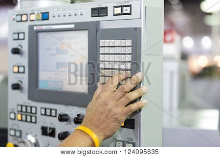 high precision CNC Machine control panel closup