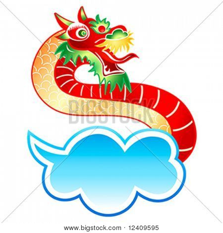 Mystically appearance of the Chinese dragon from cloud