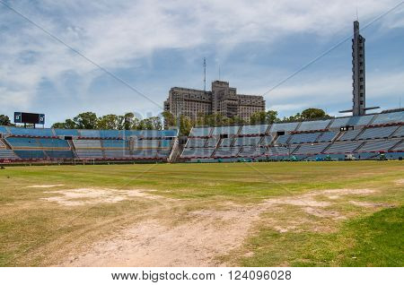 Montevideo Uruguay - December 15 2012: Trampled grass of the football field at the Centenario Football Stadium Montevideo Uruguay - Built for the first World cup in 1930 the stadium is the home of the Uruguayan football team and used by Penarol FC