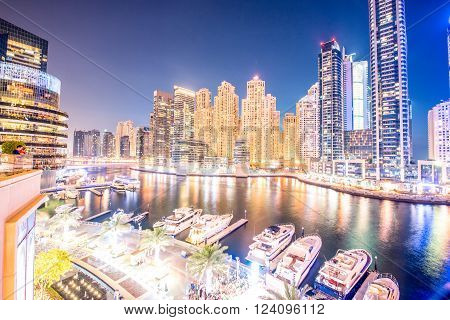 Dubai - MARCH 26, 2016: Marina district on March 26 in UAE, Dubai. Marina district is popular residential area in Dubai