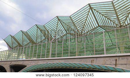 LISBON, PORTUGAL - MARCH 16TH. Impressive glass roof on Oriente Railway Station. Lisbon Portugal March 16th 2016.
