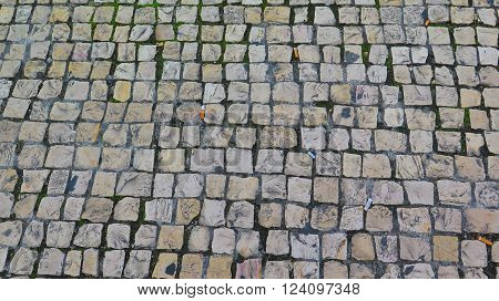 Square cobblestones on a street in the Alfama district of Lisbon.