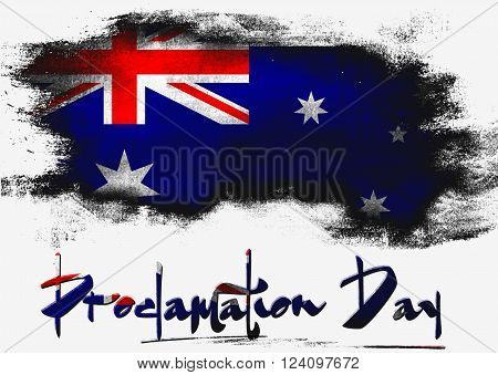 Proclamation Day with Australia flag image, 3D rendering