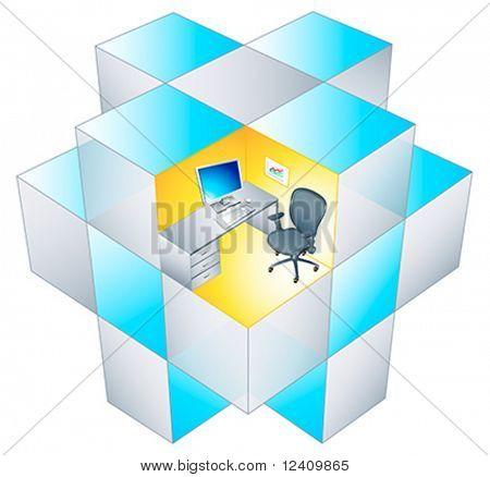 El lugar de trabajo en rotación matriz del cubículo de oficina.