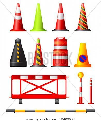 Collection of different traffic cones, drums, posts and safety barriers
