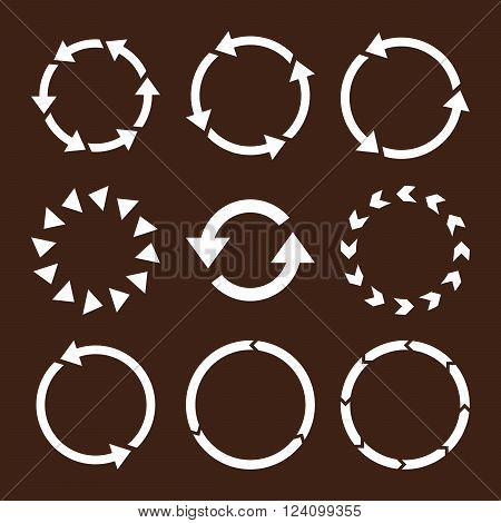 Rotation Direction vector icon set. Collection style is white flat symbols on a brown background. Rotation Direction icons.