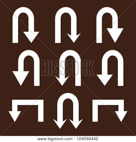 Turn Back Arrows vector icon set. Collection style is white flat symbols on a brown background. Turn Back Arrows icons.