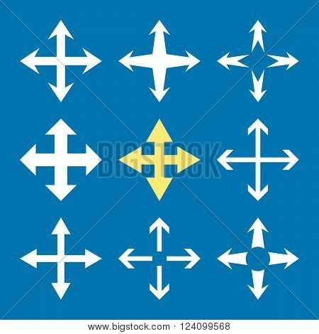 Expand Arrows vector icon set. Collection style is bicolor yellow and white flat symbols on a blue background. Expand Arrows icons.