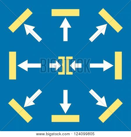 Push Directions vector icon set. Collection style is bicolor yellow and white flat symbols on a blue background. Push Directions icons.