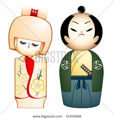 Geisha and Samurai custom-designed Kokeshi-dolls