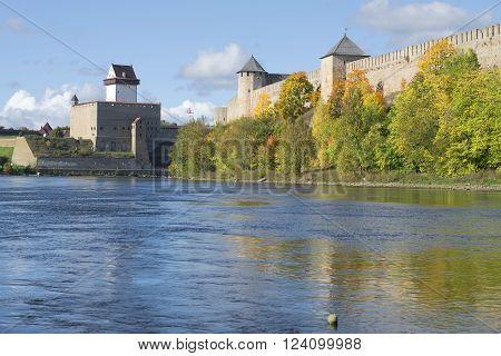 September on the border river. Ivangorod, Leningrad region, Russia