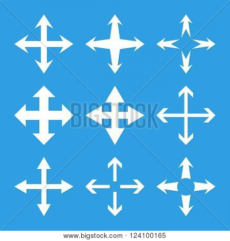 Expand Arrows vector icon set. Collection style is white flat symbols on a blue background. Expand Arrows icons.